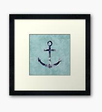 Blue Grunge Nautical Anchor Framed Print