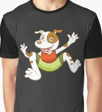 Cute Funny Cartoon Silly Jumping Dog Character Doodle Animal Drawing Graphic T-Shirt