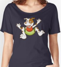 Cute Funny Cartoon Silly Jumping Dog Character Doodle Animal Drawing Women's Relaxed Fit T-Shirt