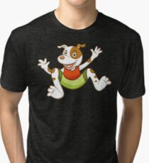 Cute Funny Cartoon Silly Jumping Dog Character Doodle Animal Drawing Tri-blend T-Shirt
