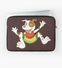 Cute Funny Cartoon Silly Jumping Dog Character Doodle Animal Drawing Laptop Sleeve