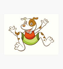 Cute Funny Cartoon Silly Jumping Dog Character Doodle Animal Drawing Art Print
