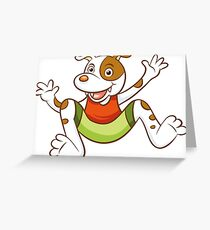 Cute Funny Cartoon Silly Jumping Dog Character Doodle Animal Drawing Greeting Card