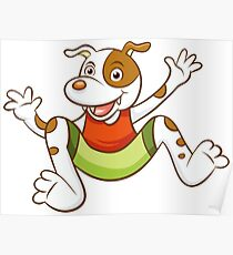 Cute Funny Cartoon Silly Jumping Dog Character Doodle Animal Drawing Poster