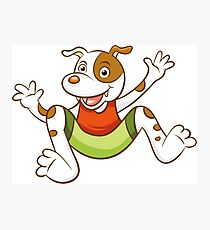 Cute Funny Cartoon Silly Jumping Dog Character Doodle Animal Drawing Photographic Print