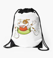 Cute Funny Cartoon Silly Jumping Dog Character Doodle Animal Drawing Drawstring Bag