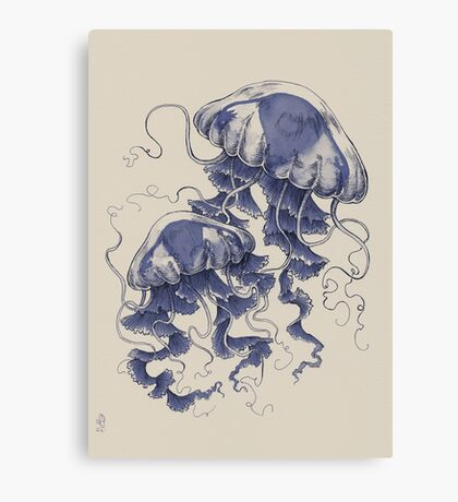 Jellyfish: In Bloom (Blue) Canvas Print