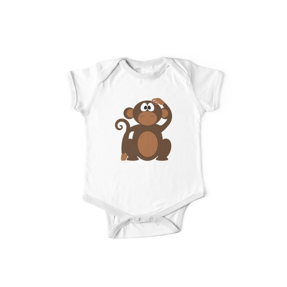 Cute Funny Cartoon Confused Monkey Head Bear Character Doodle Animal Drawing by Sago-Design