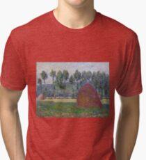 Claude Monet - Haystack At Giverny, 1885 Tri-blend T-Shirt