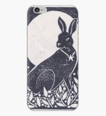 Hare and Moon Lino Print iPhone Case