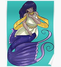 Cute Cartoon Mermaid Poster