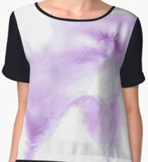 Whispers in Purple Abstract Watercolors Chiffon Top