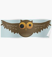 Cute Funny Cartoon Silly Flying Owl Character Doodle Animal Drawing Poster