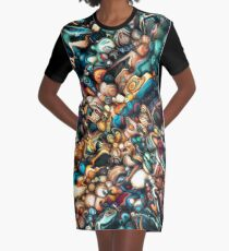 Abstract Texture And Colors Graphic T-Shirt Dress