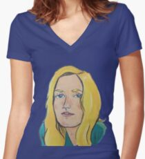 With the lovely flowers in her hair Women's Fitted V-Neck T-Shirt