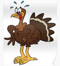 Cute Funny Cartoon Silly Thanksgiving Turkey  Character Doodle Animal Drawing Poster