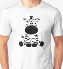Cute Funny Cartoon Silly Zebra Sitting Character Doodle Animal Drawing Unisex T-Shirt