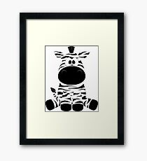 Cute Funny Cartoon Silly Zebra Sitting Character Doodle Animal Drawing Framed Print