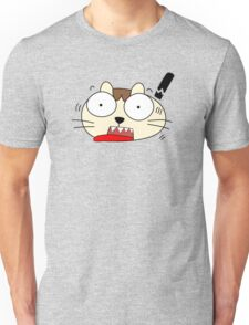 Cute Funny Cartoon Silly Confused Cat Character Doodle Animal Drawing Unisex T-Shirt