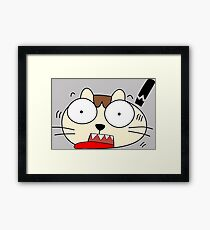 Cute Funny Cartoon Silly Confused Cat Character Doodle Animal Drawing Framed Print