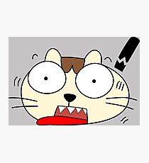 Cute Funny Cartoon Silly Confused Cat Character Doodle Animal Drawing Photographic Print