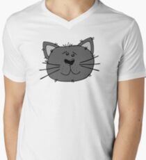 Cute Funny Cartoon Silly Gray Cat Face Character Doodle Animal Drawing Mens V-Neck T-Shirt