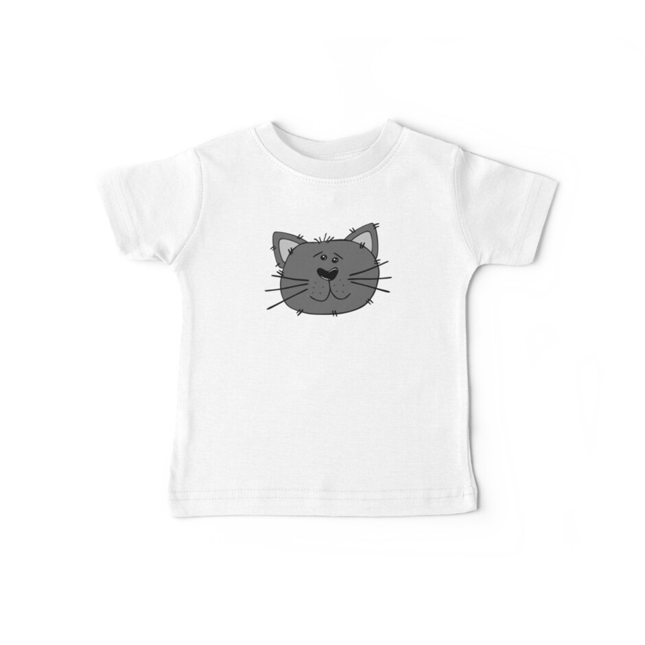 Cute Funny Cartoon Silly Gray Cat Face Character Doodle Animal Drawing by Sago-Design