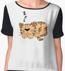 Cute Funny Cartoon Silly Sleeping Cat Character Doodle Animal Drawing Chiffon Top