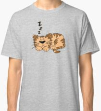 Cute Funny Cartoon Silly Sleeping Cat Character Doodle Animal Drawing Classic T-Shirt