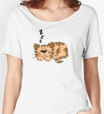 Cute Funny Cartoon Silly Sleeping Cat Character Doodle Animal Drawing Women's Relaxed Fit T-Shirt