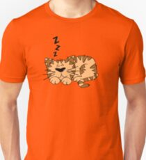 Cute Funny Cartoon Silly Sleeping Cat Character Doodle Animal Drawing T-Shirt