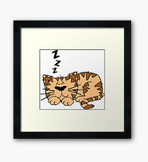 Cute Funny Cartoon Silly Sleeping Cat Character Doodle Animal Drawing Framed Print