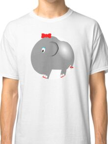 Cute Funny Cartoon Silly Elephant Girl Character Doodle Animal Drawing Classic T-Shirt