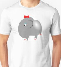 Cute Funny Cartoon Silly Elephant Girl Character Doodle Animal Drawing T-Shirt