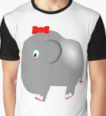 Cute Funny Cartoon Silly Elephant Girl Character Doodle Animal Drawing Graphic T-Shirt