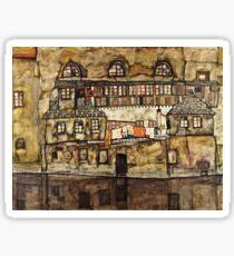 Egon Schiele - Mur de la maison sur la rivière (1915) Sticker