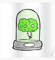 cartoon brain in jar Poster