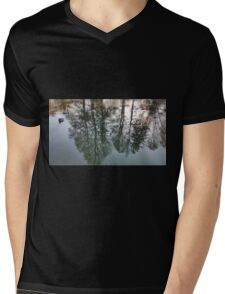 Tree reflections in a pond, ducks, autumn lake Mens V-Neck T-Shirt