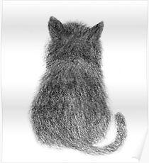 Black Cat Pencil Sketch Poster
