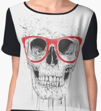 Skull with red glasses Chiffon Top