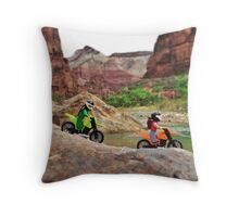 Jerry & William on bikes Throw Pillow