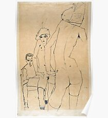 Egon Schiele - Schiele With Nude Model Before The Mirror, 1910 Poster