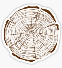 Tree growth rings doodle drawing. Sticker