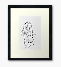 Egon Schiele - Seated Nude Girl Clasping Her Left Knee Framed Print
