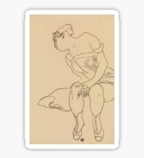 Egon Schiele - Seated Woman In Corset And Boots Sticker
