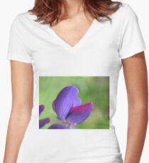 Purple Lupin Close Up Women's Fitted V-Neck T-Shirt