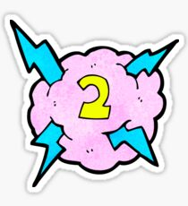 cartoon lightning storm cloud symbol with number two Sticker