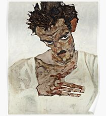 Egon Schiele - Self Portrait With Lowered Head (1912) Poster
