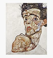 Egon Schiele - Self Portrait With Raised Bare Shoulder (1912) Photographic Print