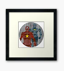 Superhero on wood surface Framed Print